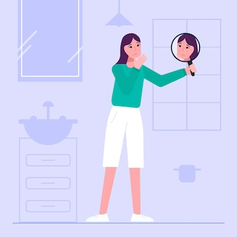 Illustration des flachen selbstwertgefühls des flachen designs