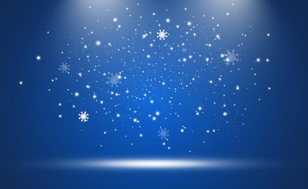 Illustration des fliegenden schnees auf einem transparenten hintergrund. natürliches phänomen des schneefalls oder des schneesturms.