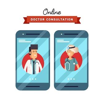 Illustration des formkonzepts zur hand, das handy mit medizinischer hilfe und ärztlicher beratung online hält
