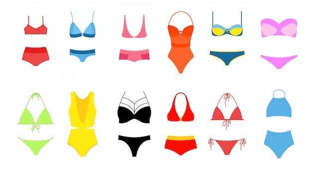 Illustration des frauenbikini-satzes, sammlung des badeanzugs der hellen farben auf weißem hintergrund. moderner, modischer vintage-bikini.