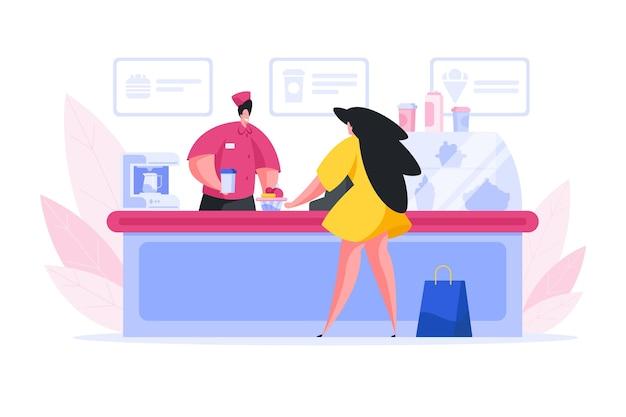 Illustration des freundlichen männlichen barista, der tasse kaffee verkauft