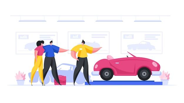 Illustration des freundlichen männlichen verkäufers, der zeitgenössisches neues fahrzeug anbietet