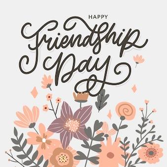 Illustration des freundschaftstages mit text und elementen zum feiern der blumen des freundschaftstages