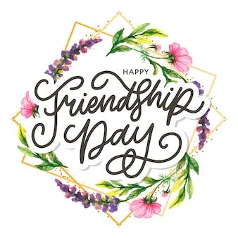 Illustration des freundschaftstages mit text und elementen zum feiern des freundschaftstages 2020
