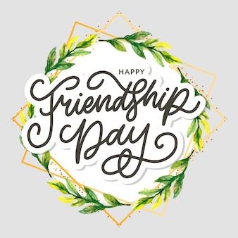Illustration des freundschaftstages mit text und elementen zum feiern des freundschaftstages