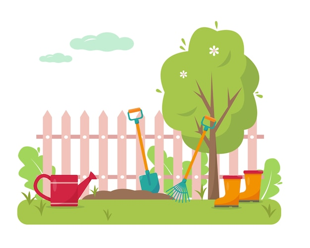 Illustration des gartenkonzeptdesigns