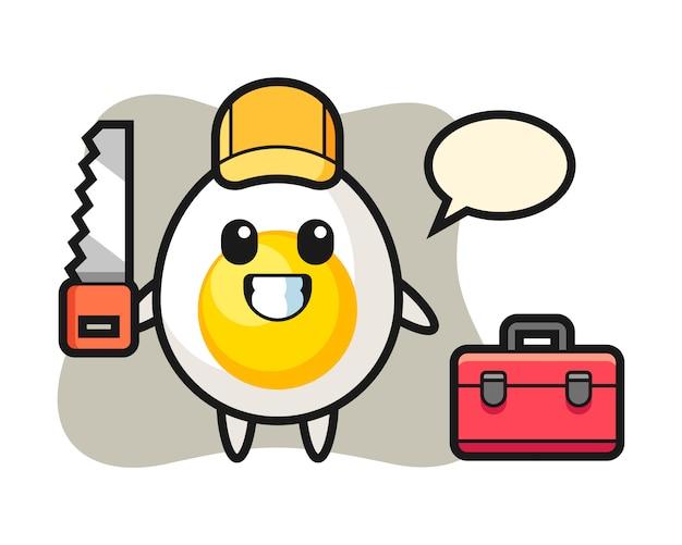 Illustration des gekochten ei-charakters als holzarbeiter