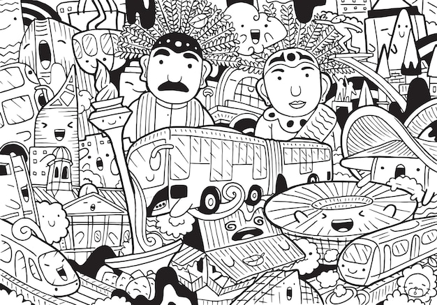 Illustration des gekritzel-jakarta-stadtbildes im karikaturstil