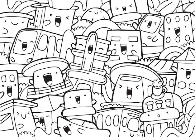 Illustration des gekritzel-miami-stadtbildes im karikaturstil