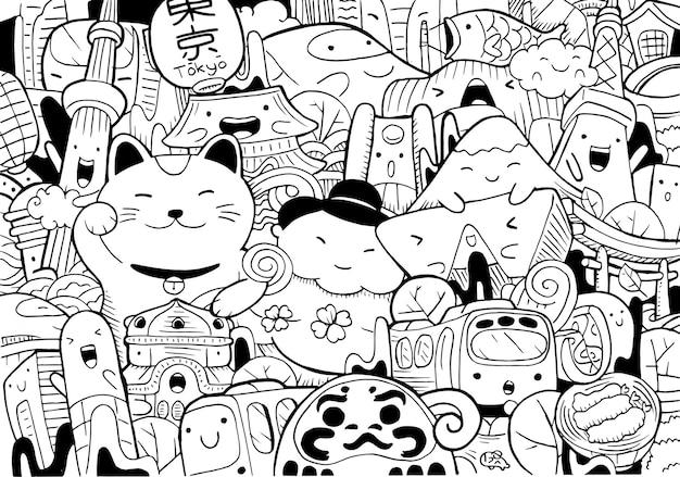 Illustration des gekritzel-tokio-stadtbildes im karikaturstil