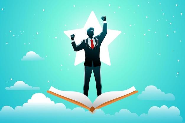 Illustration des geschäftskonzepts, ein fröhlicher geschäftsmann, der auf einem fliegenden buch auf sternenhintergrund steht