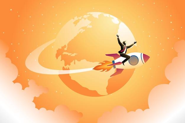 Illustration des geschäftskonzepts, fröhlicher geschäftsmann auf der ganzen welt mit rakete