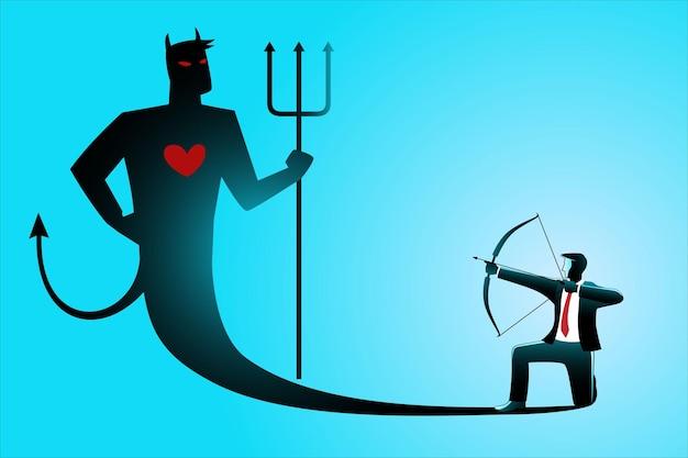 Illustration des geschäftskonzepts, geschäftsmann, der seinen bösen eigenen schatten mit pfeil und bogen zielt