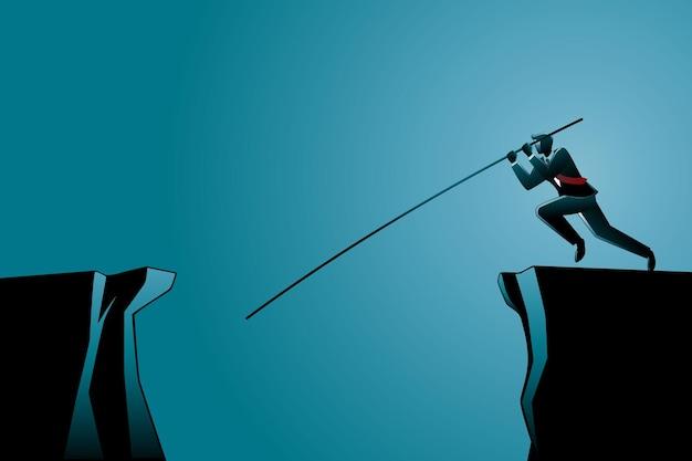 Illustration des geschäftskonzepts, geschäftsmann, der über schlucht mit langem stock springt