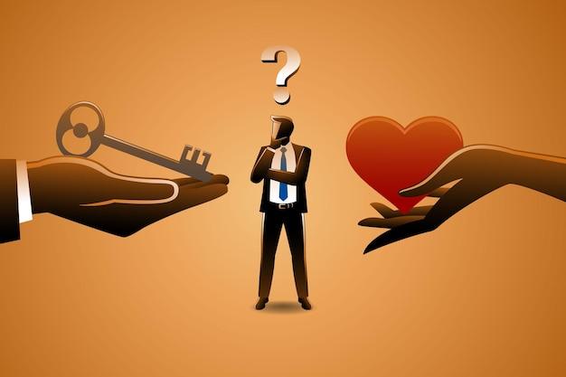Illustration des geschäftskonzepts, geschäftsmann, der zwischen liebe oder schlüssel die karriere wählt, symbolisieren