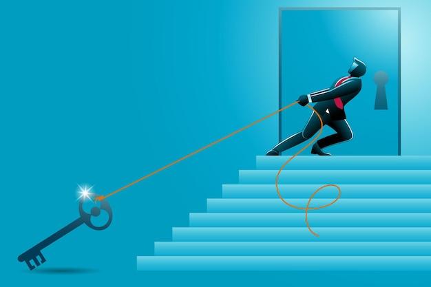 Illustration des geschäftskonzepts, geschäftsmann zieht großen schlüssel die treppe hinauf, um die tür zu öffnen
