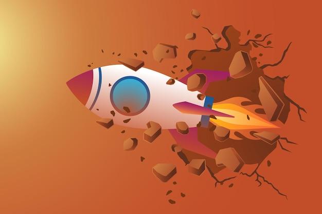 Illustration des geschäftskonzepts, rakete, die die wand durchbricht