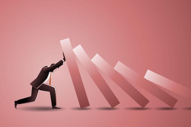 Illustration des geschäftskonzepts, stärke geschäftsmann helfen, kollaps mit einem dominoeffekt zu stoppen oder zu schützen