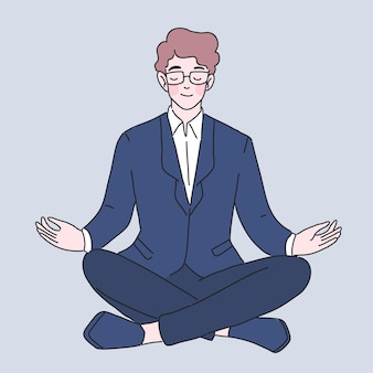 Illustration des geschäftsmann-meditationscharakters