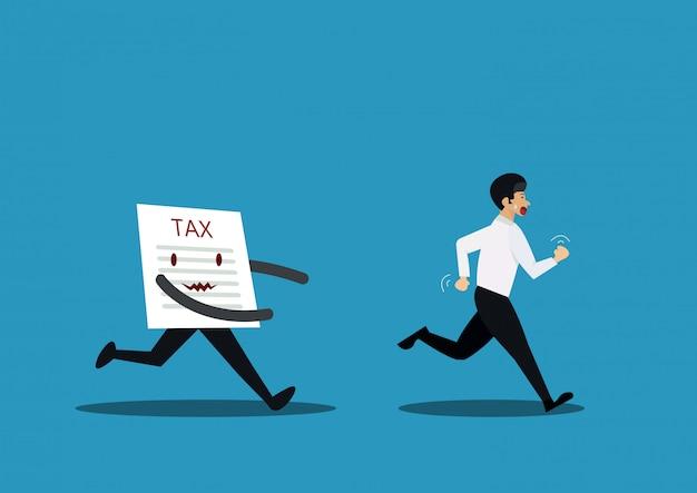 Illustration des geschäftsmannes außer kontrolle geraten von der papiersteuer, konzept