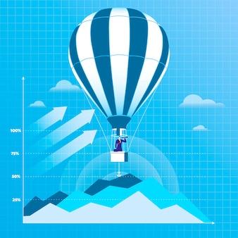 Illustration des geschäftsmannes fliegend auf heißluftballon