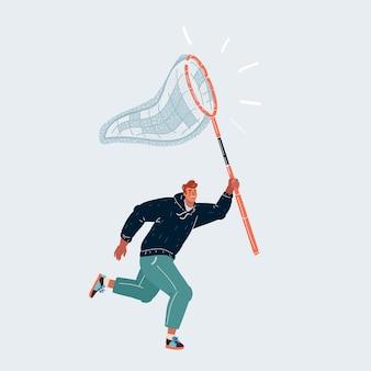 Illustration des geschäftsmannes mit einem schmetterlingsnetz, das versucht, etwas zu fangen. menschlicher charakter auf weißem hintergrund.