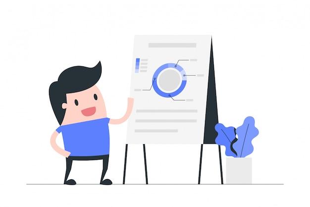 Illustration des geschäftspräsentationskonzepts. Premium Vektoren