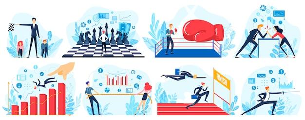 Illustration des geschäftswettbewerbs, karikaturleute laufen, um linie im rennen zu erreichen, geschäftsmann und frau, die seil ziehen, kämpfen
