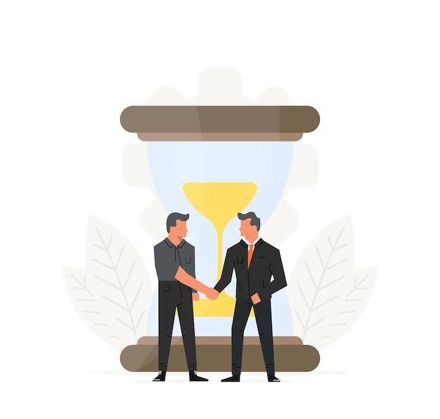 Illustration des geschäftszeitmanagements. geschäftsleute schließen einen vertrag vor der sanduhr.