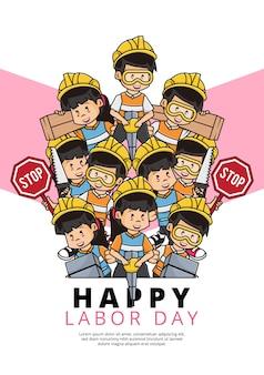 Illustration des glücklichen laboy-tagesplakats mit bauarbeitersammlung mit verschiedenen aktivitäten