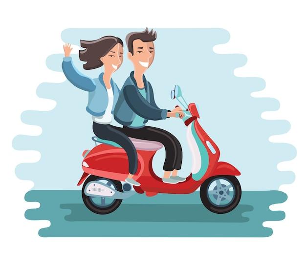 Illustration des glücklichen paares auf einem moped. mädchen winkt