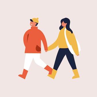 Illustration des glücklichen paares in der herbstsaisonkleidung. junges paar, das geht und sich hält.