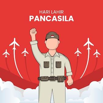 Illustration des glücklichen pancasila-tages. übersetzung: selamat hari lahir pancasila.