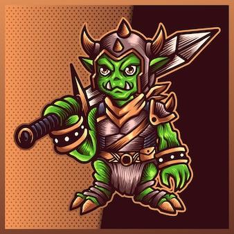 Illustration des goblin-ritters mit schwert, klinge, rüstung auf dem farbhintergrund. handgezeichnete illustration