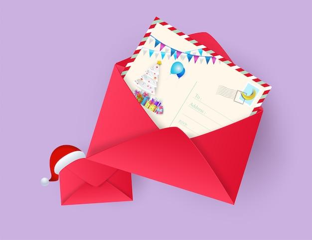 Illustration des grußkartenkonzeptes der frohen weihnachten der postkarte und des guten rutsch ins neue jahr. papier a