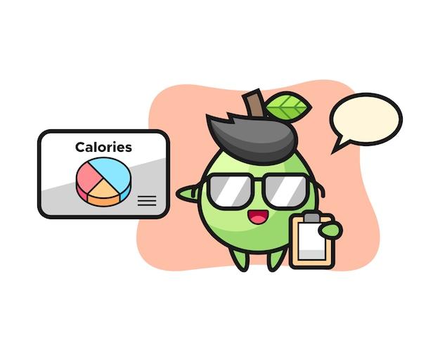 Illustration des guavenmaskottchens als ernährungsberater, niedlicher stilentwurf für t-shirt, aufkleber, logoelement