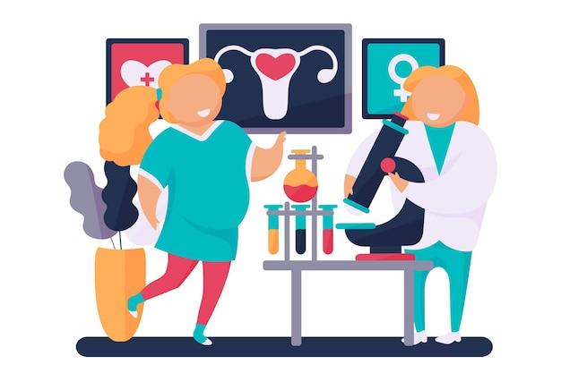 Illustration des gynäkologen und der schwangeren frau