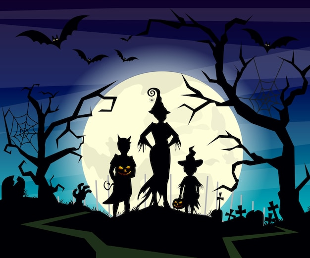 Illustration des halloween-hintergrunds mit schattenbildern des kindertricks im halloween-kostüm auf dunkelblauem nachthimmel. halloween postkarte in.