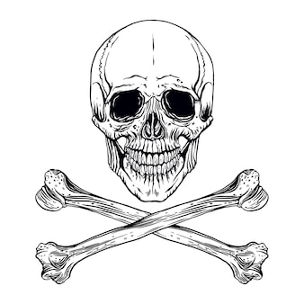 Illustration des handgezeichneten menschlichen schädels mit gekreuzten knochen
