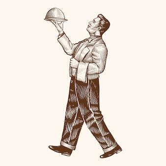 Illustration des handgezeichneten restaurantkellners