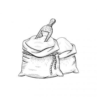 Illustration des handziehbeutels mit mehl, skizziertes brotkonzept.