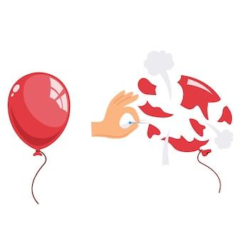 Illustration des herausgesprungenen ballons