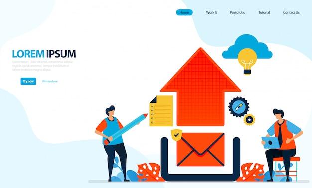 Illustration des hochladens von grafikdesign. e-mail an cloud senden. abbildung des internet-netzwerks.