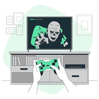 Illustration des horror-videospielkonzepts