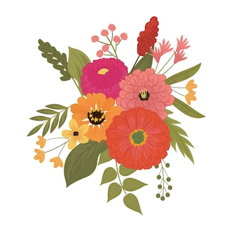 Illustration des hübschen blumenstraußes der zinniablume in rotem, in rosa, in orange