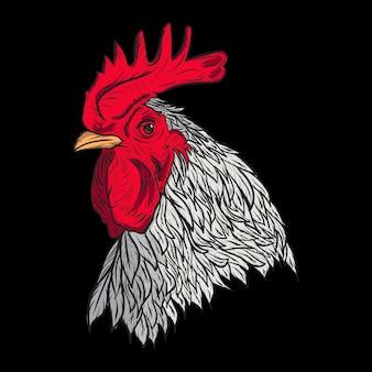 Illustration des hühnerkopfes im gravierten stil