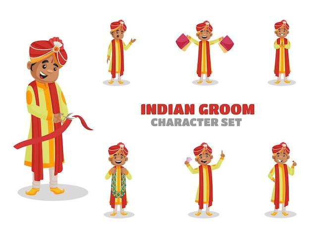 Illustration des indischen bräutigam-zeichensatzes Premium Vektoren