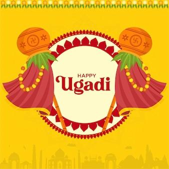 Illustration des indischen neujahrsfestes ugadi wishing card design