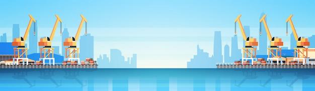 Illustration des industriellen seehafens, des frachtlogistikbehälters für import und export, versandkonzept