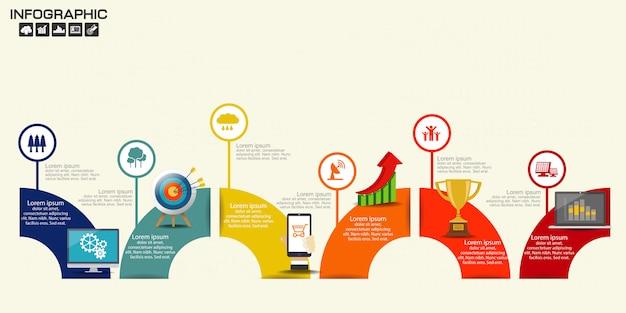 Illustration des infographic-zeitachse-pfeil-schablonen-plans